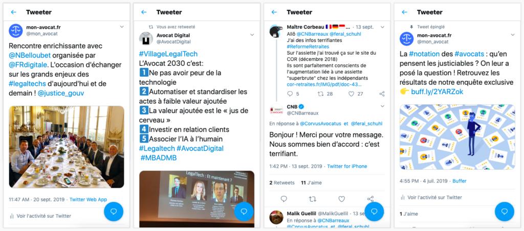 Exemples de tweets et retweets