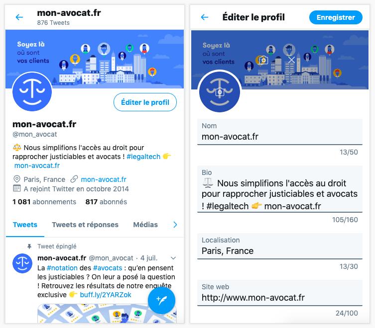 Editer son profil sur Twitter
