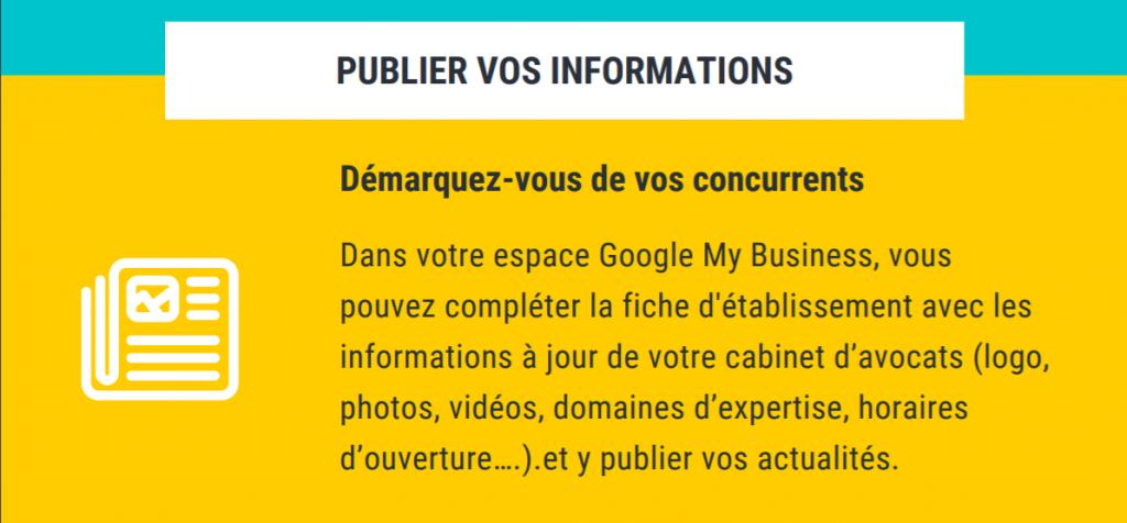 Extrait de l'infographie sur les spécificités de Google My Business